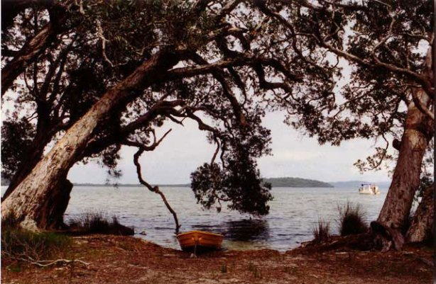 dinghy an houseboat on Myall Lakes 1996