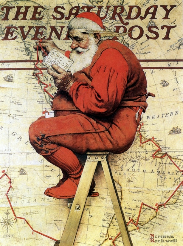 Santa Claus changes his itinerary depending on whether children were good or extra good 1939 Norman Rockwell